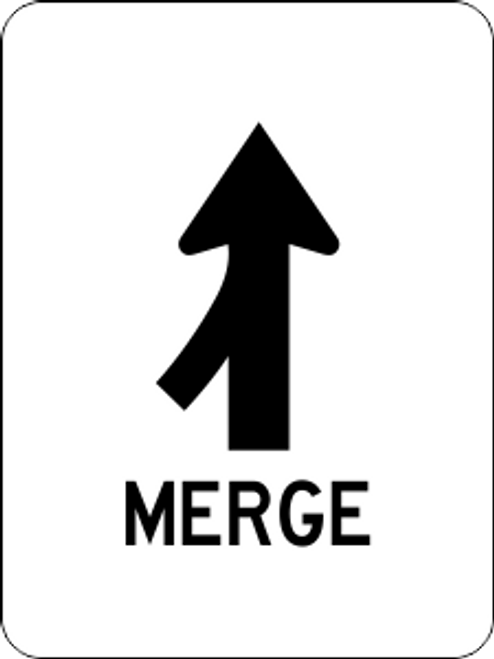 Merge Left Information Trail Sign