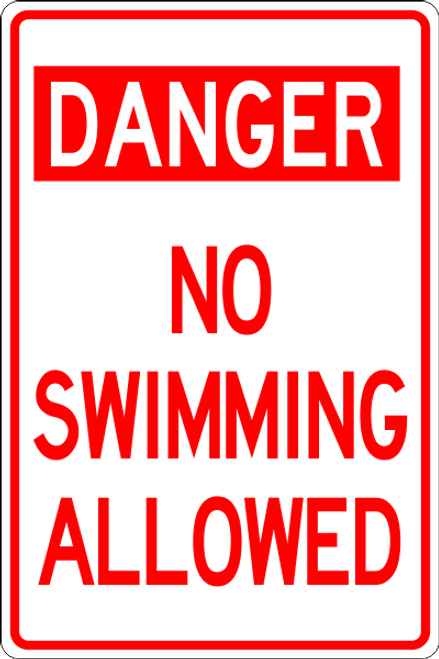 No Swimming Allowed Informational Sign