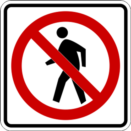 No Walking Icon Sign