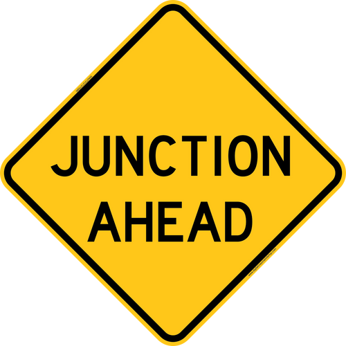 Junction Ahead Warning Trail Sign Yellow