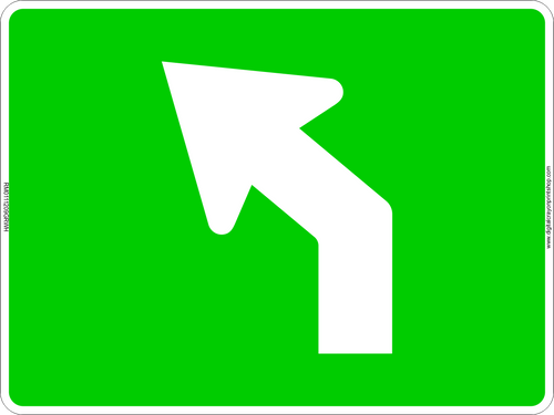 Left Curve Arrow Route Marker Sign