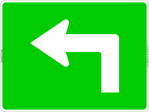 Left Turn Arrow Route Marker Sign