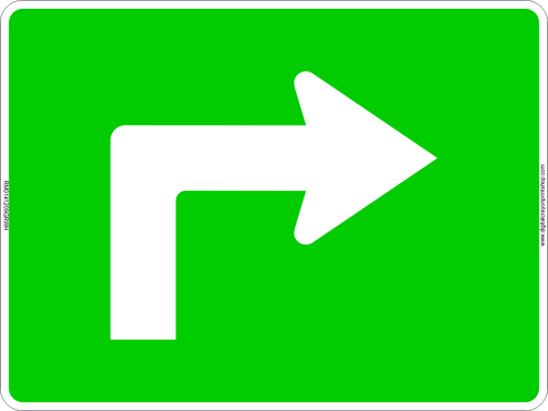 Right Turn Arrow Route Marker Sign