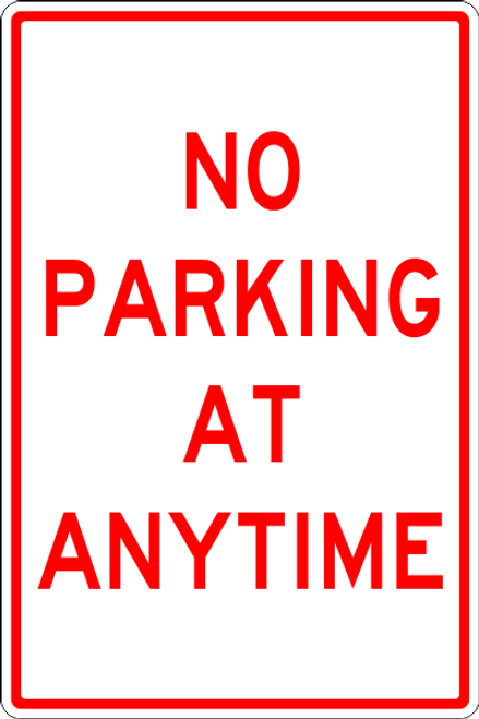 No Parking at Any Time parking lot sign