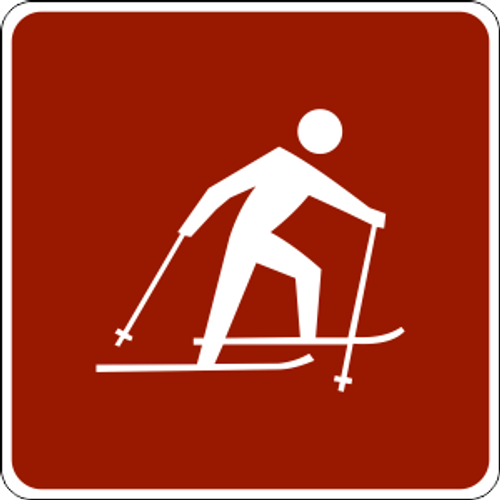 "Cross Country Skier Symbol Marker Trail Sign 6"" x 6"""