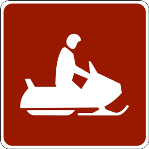 "Snowmobile Symbol Marker Trail Sign 6"" x 6"""