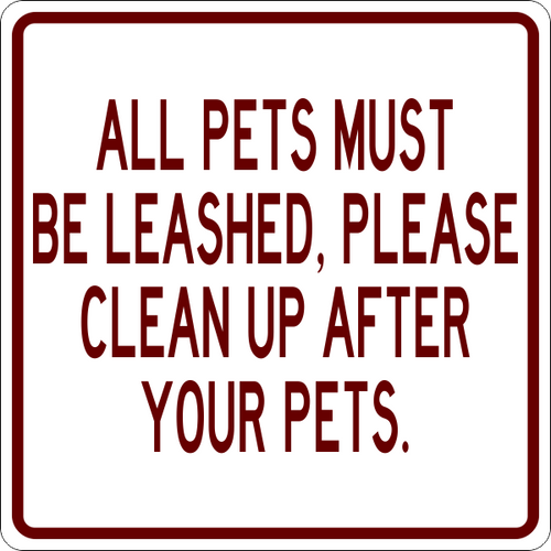 All Pets Must be Leashed Campground Sign