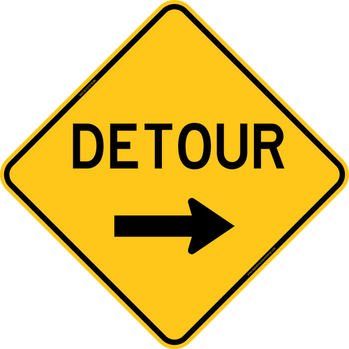 Detour with Right Arrow Warning Trail Sign