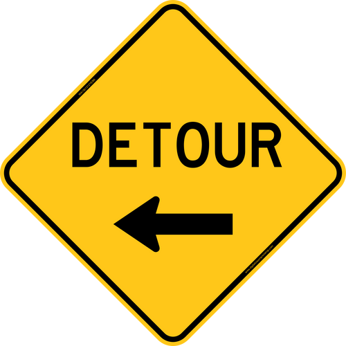 Detour with Left Arrow Warning Trail Sign