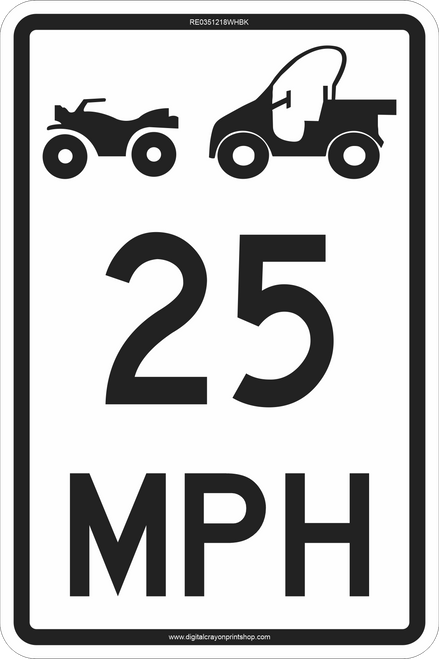 "12"" x 18"" ATV & UTV MPH Limit Trail Sign"