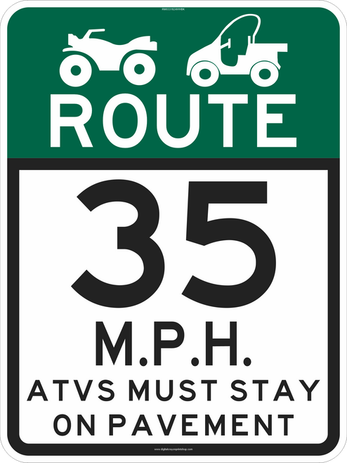 "18"" x 24"" ATV & UTV MPH Limit Route Sign"