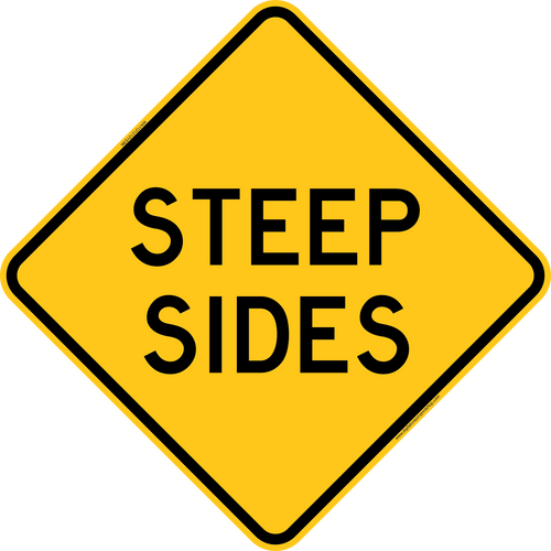 Steep Sides Warning Trail Sign