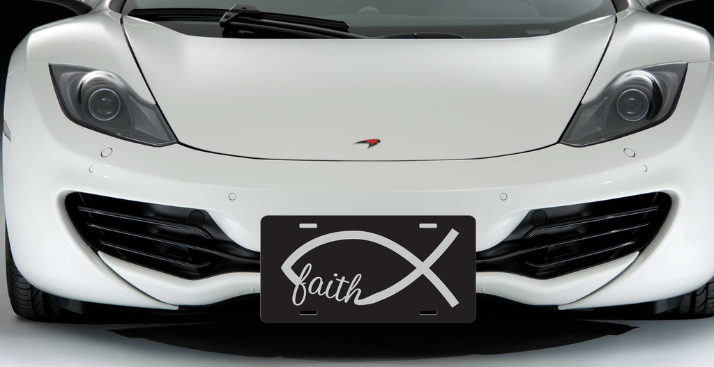 Faith Jesus Fish Custom License Plate - Christian Fish