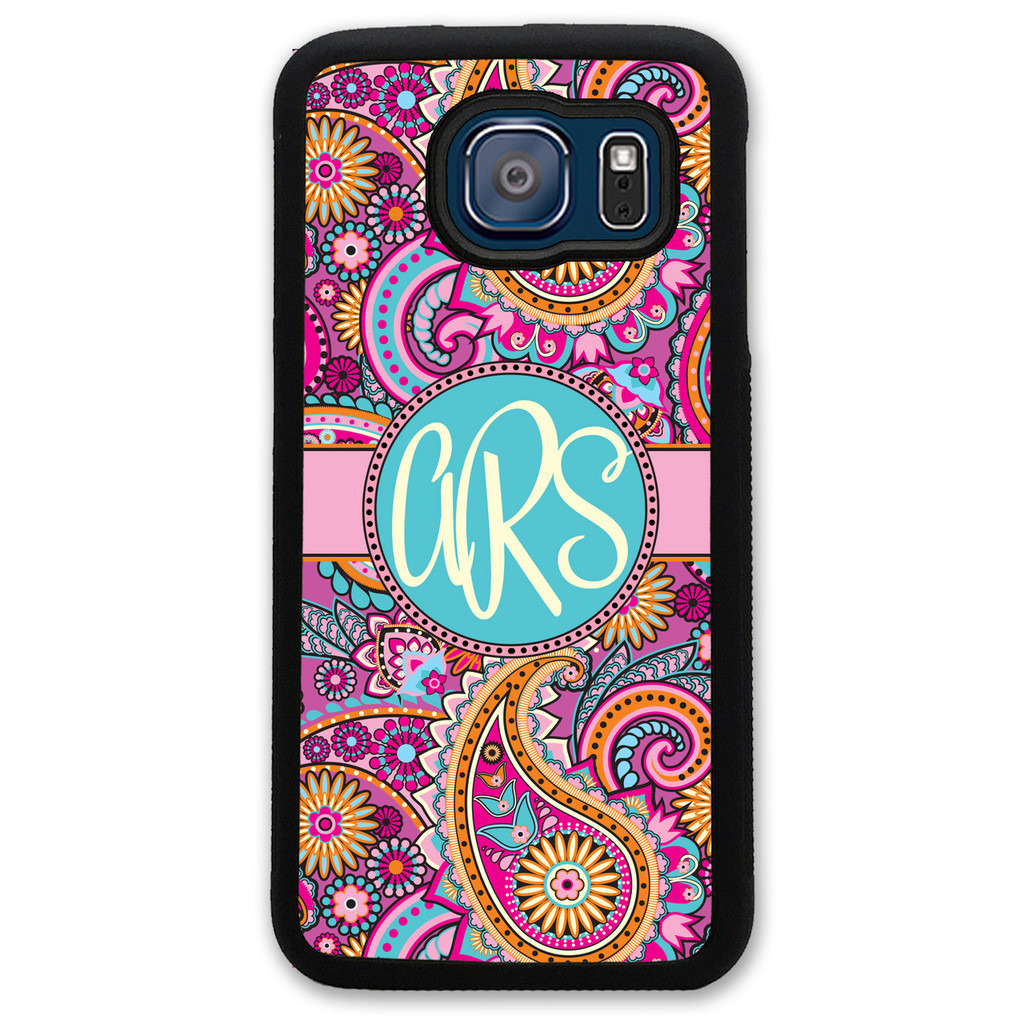Monogrammed Samsung Case - Pink Paisley