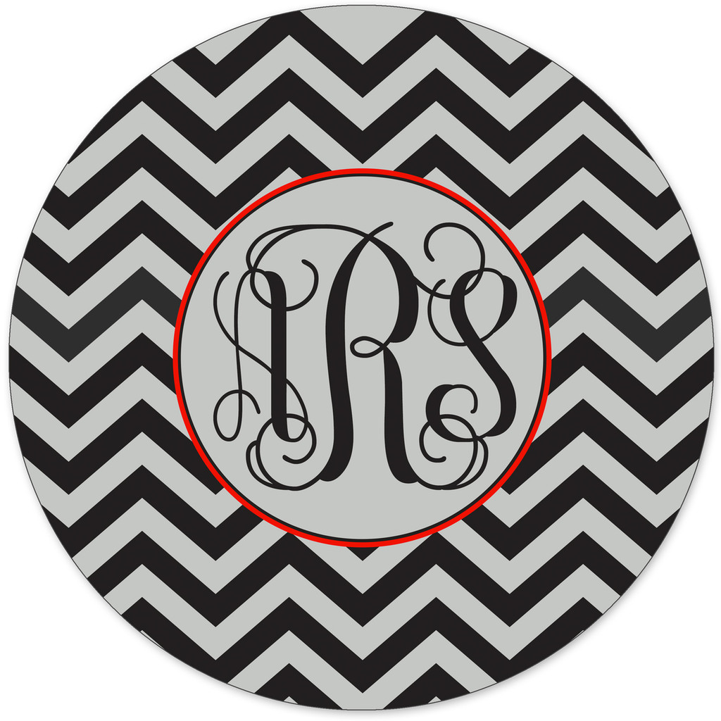 Monogrammed Mouse Pad Black Silver Chevrons