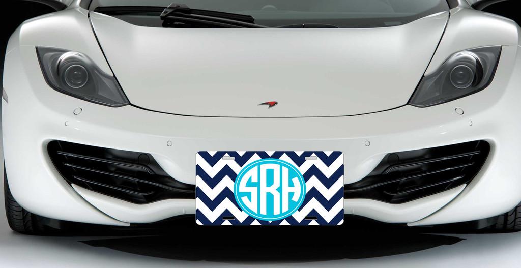 Monogrammed Car Tag - Navy Chevron Turquoise Monogram