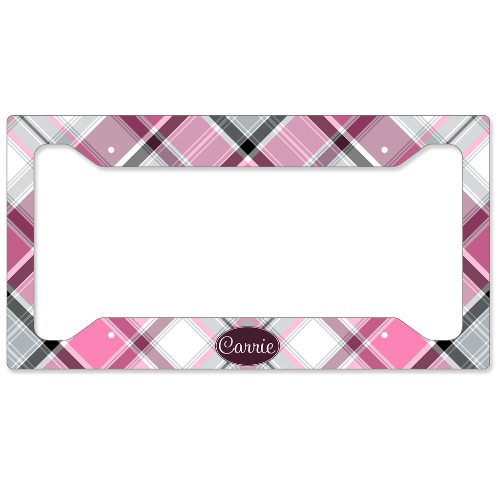 Monogrammed Car Tag - Pink Plaid