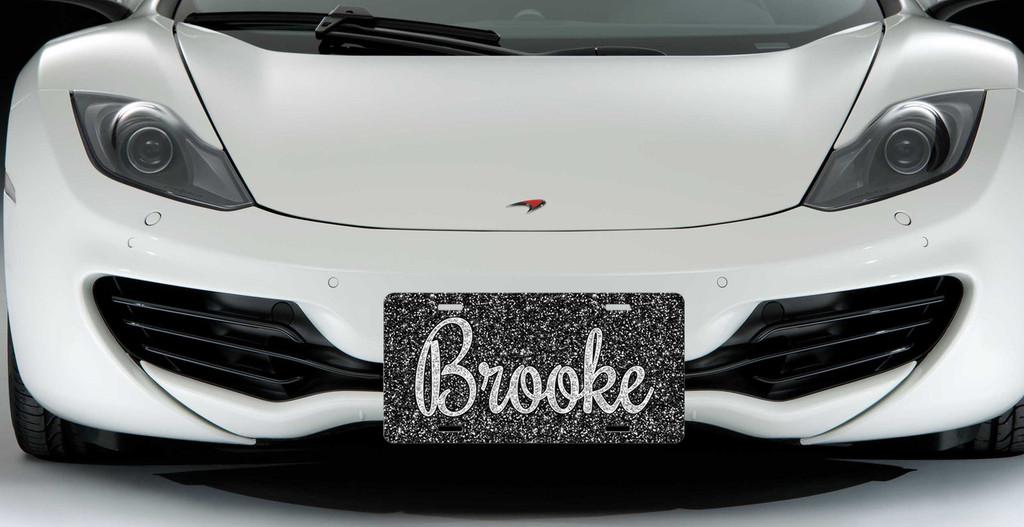 Monogrammed Car Tag - Black Silver Glitter
