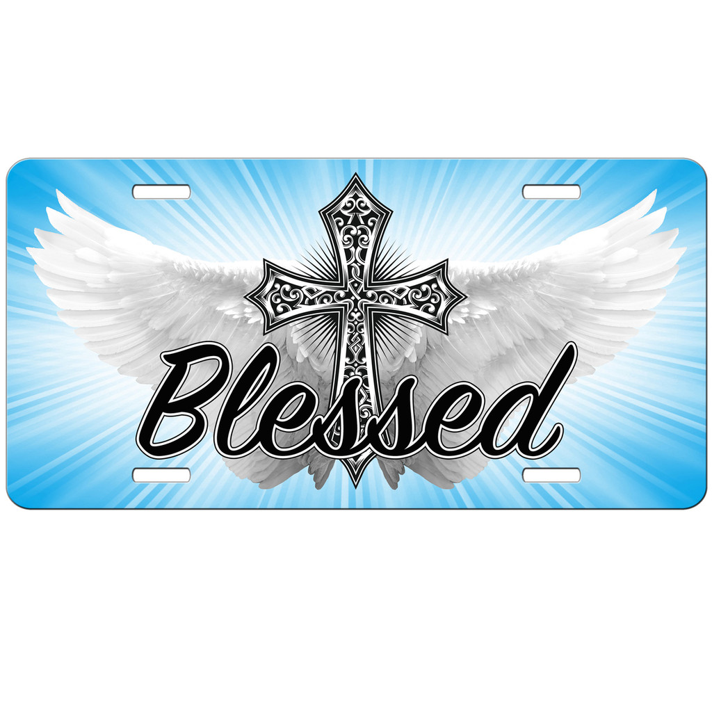 License Plate - Christian Car Tags - Christian Gifts -Front License Plate - Blessed Angel Wings Cross