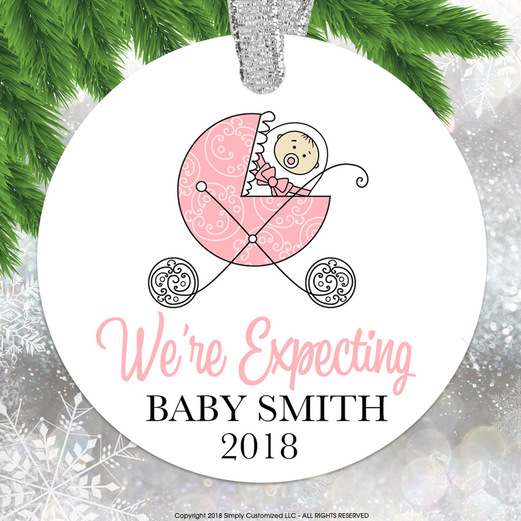 We're Expecting Baby Announcement Pink Girl Ornament - Double Sided Aluminum
