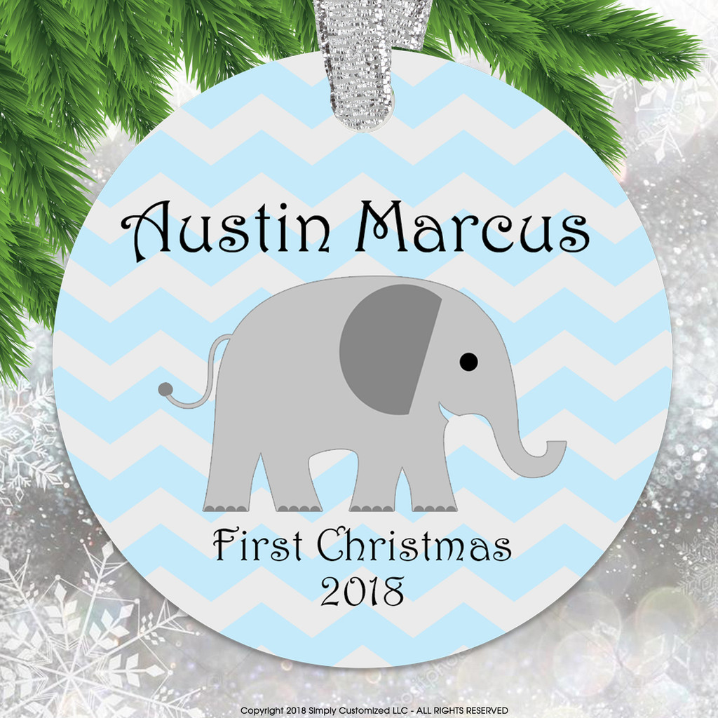 Baby's First Christmas Blue Chevrons Elephant - Double Sided Aluminum