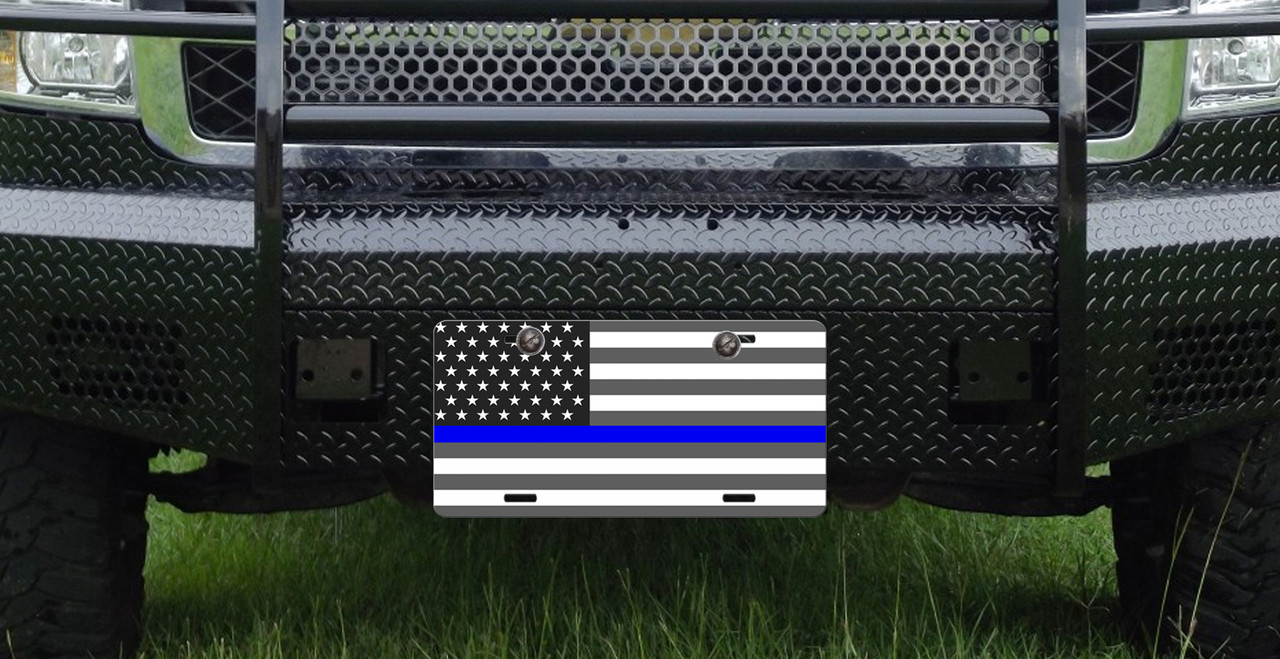 FLORIDA STATE FLAG THIN BLUE LINE AMERICAN FLAG METAL ALUMINUM CAR LICENSE PLATE