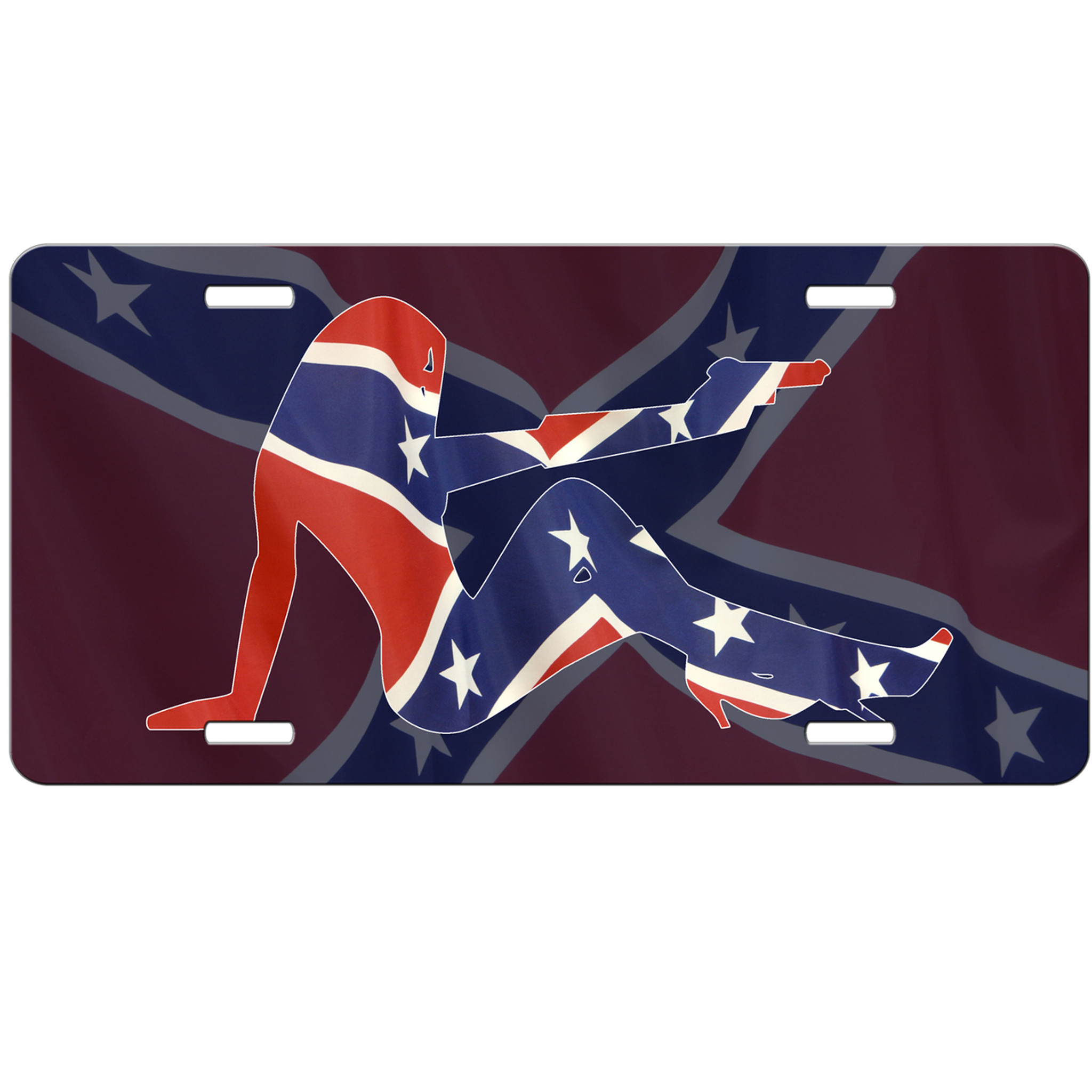 Sexy Girl Confederate Flag Car Tag License Plate Rebel