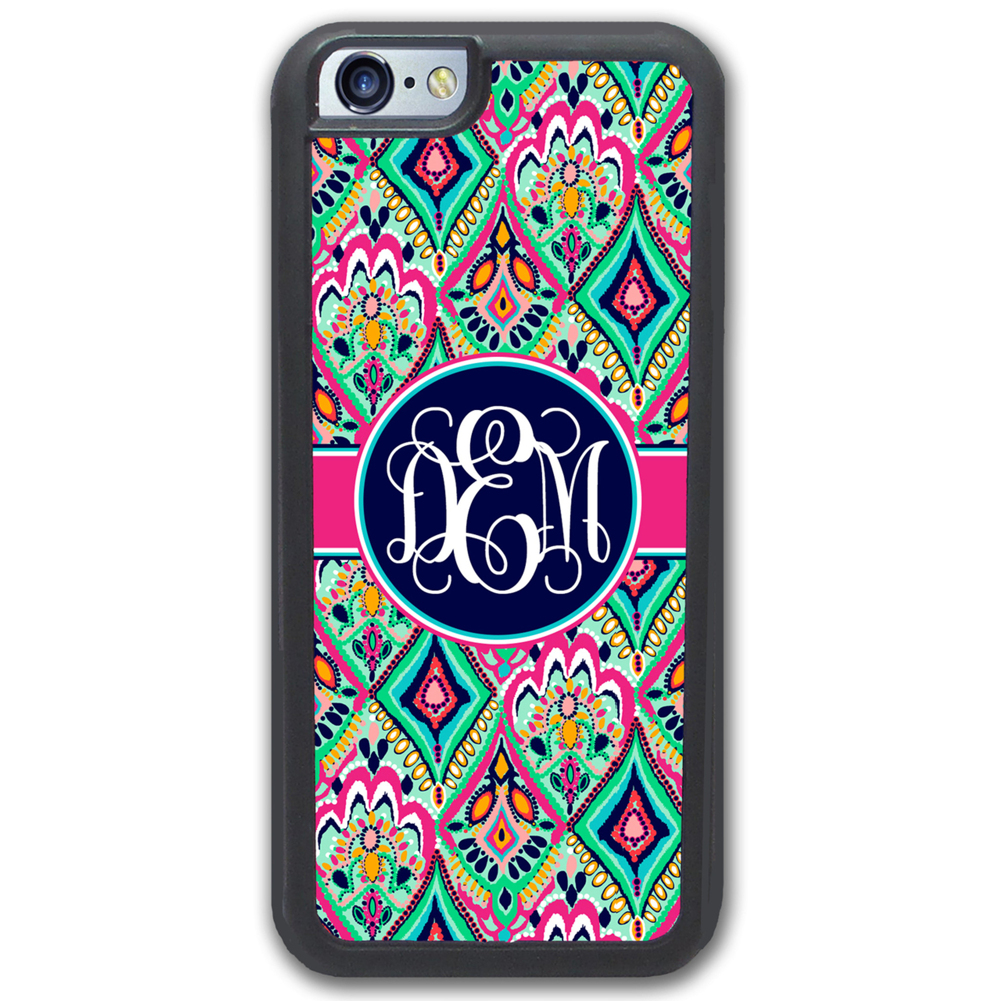 best service 43414 d9264 Monogrammed iPhone Case - Pretty Colorful Jewels Navy - SimplyCustomized