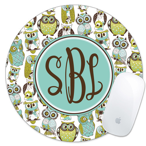 Monogrammed Mouse Pad Blue Green Owls