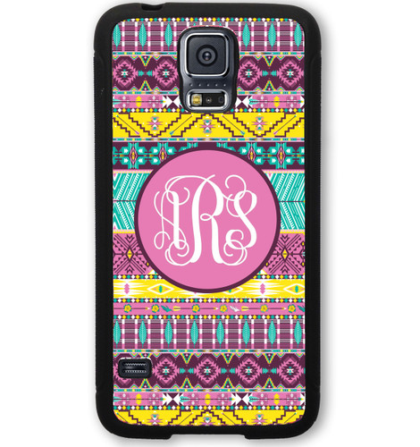 Monogrammed Samsung Case - Colorful Aztec Yellow Pink Tiffany