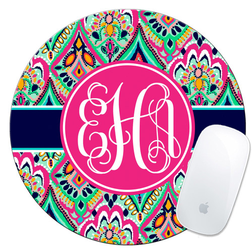 Monogrammed Mouse Pad Floral Jewels