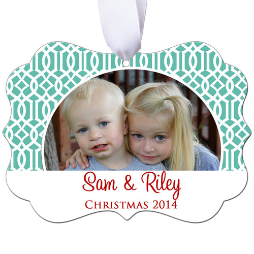 Personalized Photo Christmas Ornament - Lattice Design - Double Sided - Aluminum
