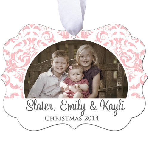 Personalized Photo Christmas Ornament - Filigree Design - Double Sided - Aluminum