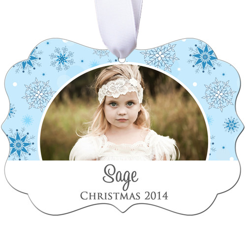 Personalized Photo Christmas Ornament - Blue Snowflake - Double Sided - Aluminum