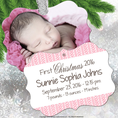 Personalized Ornament - Photo Ornament - Baby's First Ornament - Pink Baby Girl Birth