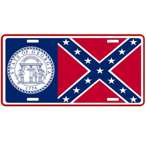 Georgia State Flag Confederate Car Tag - Rebel License Plate