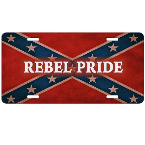 Rebel Flag Pride License Plate Redneck Confederate Flag Auto Tag