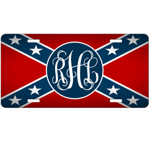 Rebel Flag Monogrammed Car Tag - Confederate Personalized License Plate Redneck