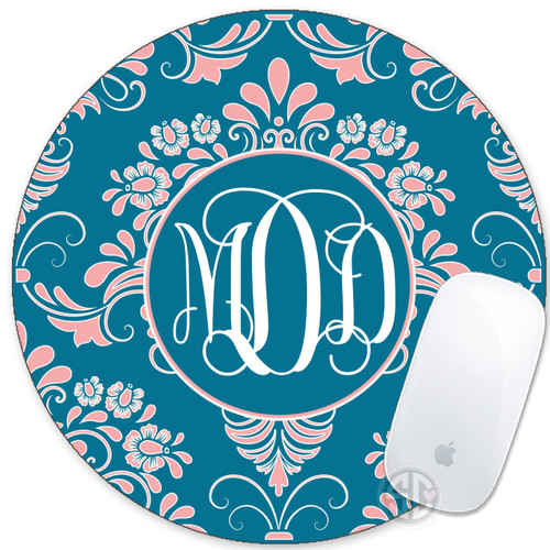 Monogrammed Mouse Pad Pretty Damask