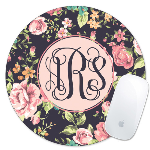 Monogrammed Mouse Pad Floral Roses