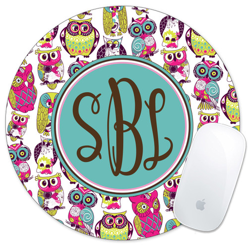 Monogrammed Mouse Pink Owls
