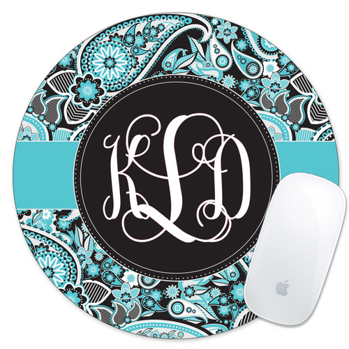 Monogrammed Mouse Pad Pretty Blue Paisley