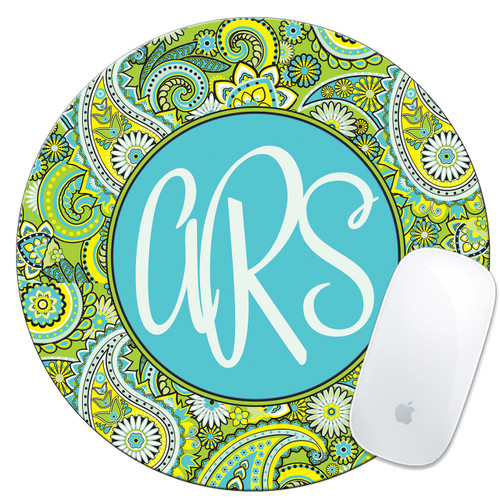 Monogrammed Mouse Pad Lime Green Paisley
