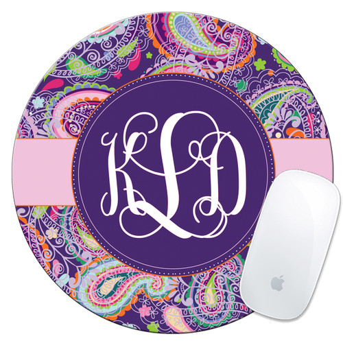 Monogrammed Mouse Pad Purple Paisley