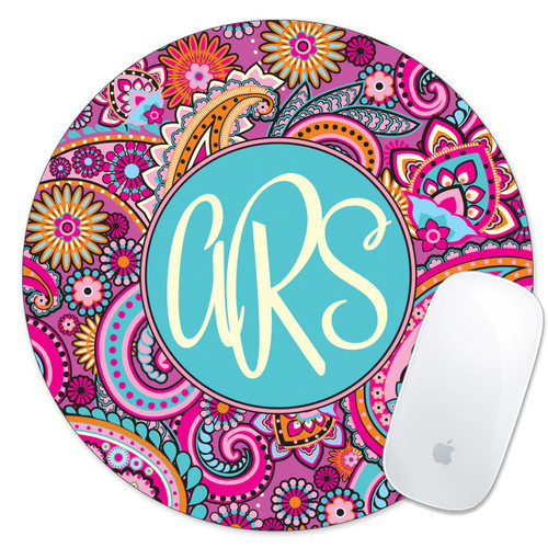 Monogrammed Mouse Pad Pink Paisley