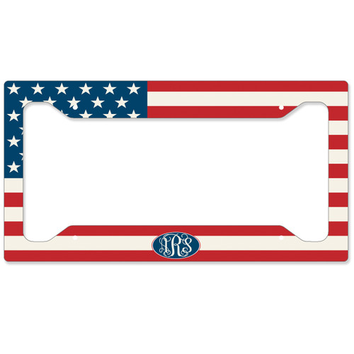 American Flag Monogrammed Car Tag - USA Personalized License Plate Patriotic