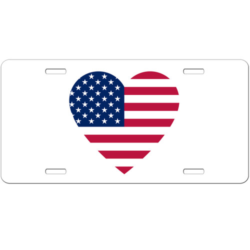 American Flag Heart Love Car Tag - USA License Plate - Patriotic