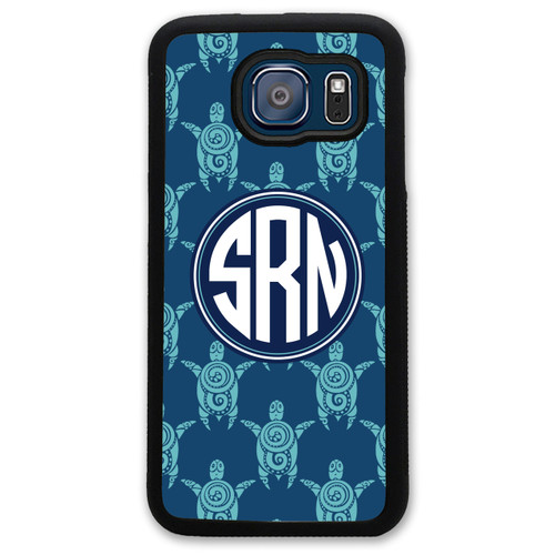Monogrammed Samsung Case - Turquoise Navy Turtles Nautical