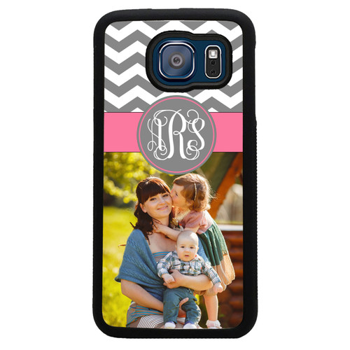 Monogrammed Photo Samsung Case - Galaxy Picture Case Chevrons