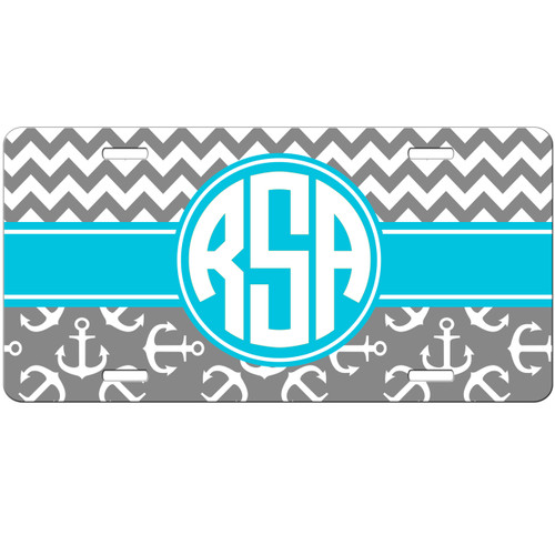 Monogrammed License Plate - Grey Turquoise Anchors Chevrons